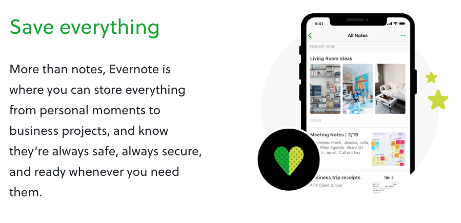 Evernote allows users to create notes